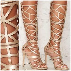 Gold Metallic Cut-Out Gladiator Knee-High Heels